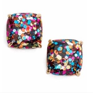 Kate spade rainbow glitter square earrings